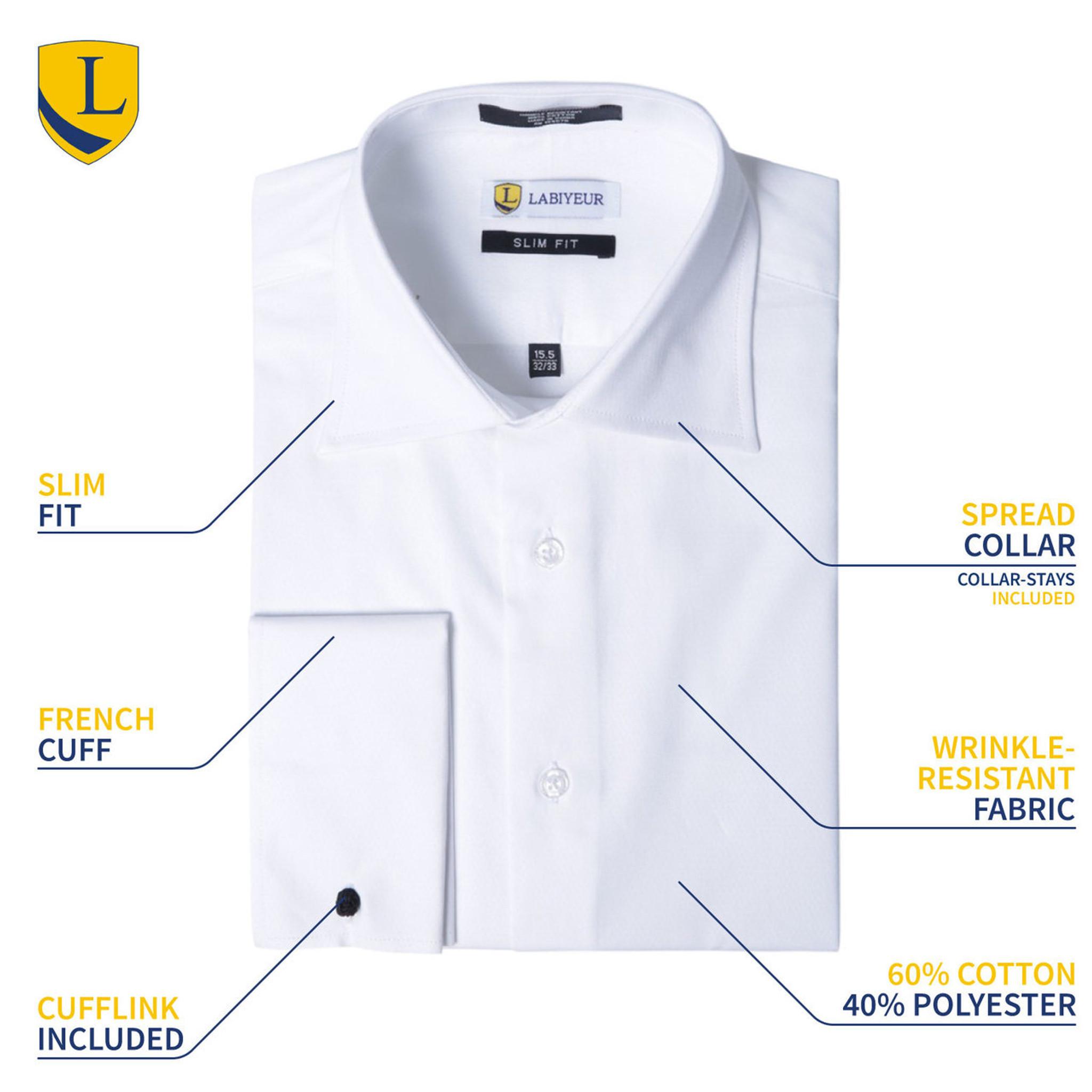 Labiyeur Men/'s Slim Fit French Cuff Poplin Cotton Blend Solid Dress Shirt White