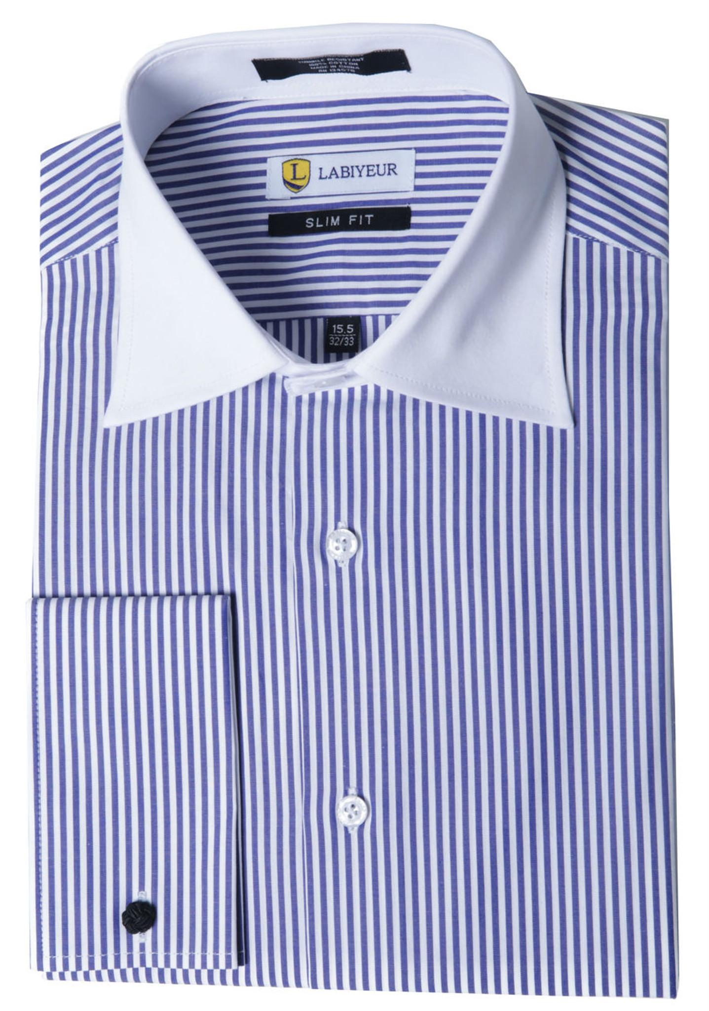 Labiyeur Men S Slim Fit French Cuff Striped Dress Shirt