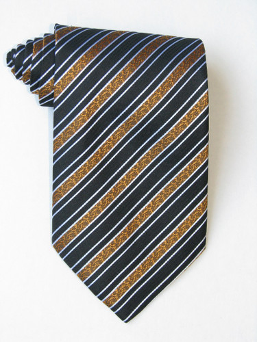 Free Golden Flowers Stripe Black Background Tie