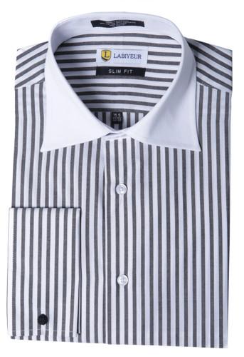 Labiyeur Slim Fit Black and White Striped Cotton Blend French Cuffs Dress Shirts