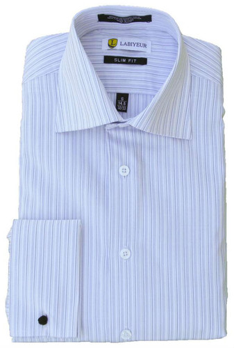 Labiyeur Slim Fit White and Blue Striped Cotton Blend French Cuffs Dress Shirt
