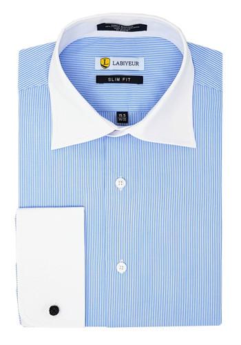 Labiyeur Slim Fit Blue White Fine Stripes French Cuff Dress Shirt