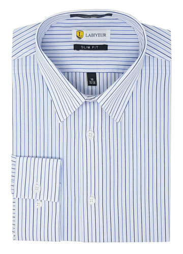 Labiyeur Slim Fit Blue Stripes on White Button Cuff Dress Shirt