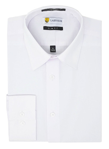 Labiyeur Slim Fit White Button Cuff Men's Dress Shirt