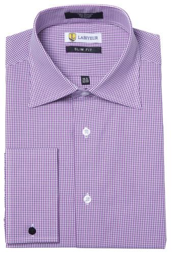 Labiyeur Men's Slim Fit French Cuff Checkered Dress Shirt Gingham Purple/White