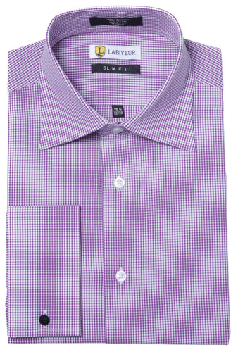 Labiyeur Men's Slim Fit French Cuff Checkered Dress Shirt Gingham Purple/White