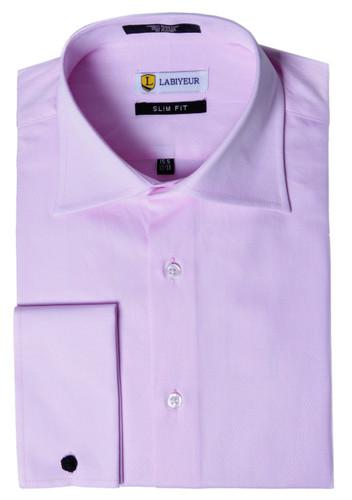 Labiyeur Men's Slim Fit French Cuff Textured Dress Shirt Pink