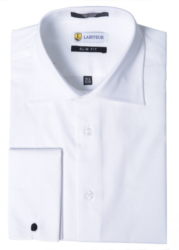 Labiyeur Men's Slim Fit French Cuff Textured Dress Shirt White