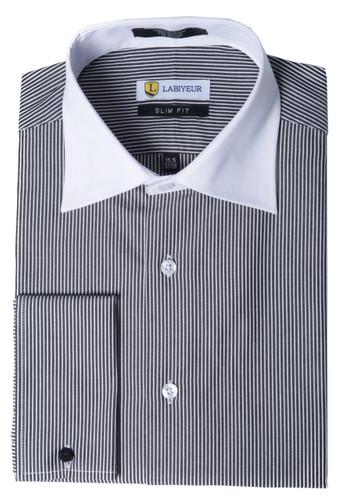 Labiyeur Men's Slim Fit French Cuff Striped Dress Shirt Black/White
