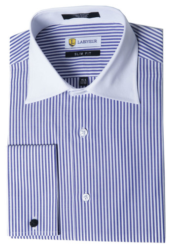 Labiyeur Men's Slim Fit French Cuff Striped Dress Shirt White/Blue