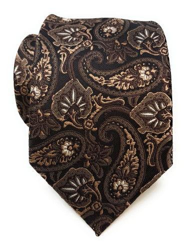Labiyeur Men's Necktie: Fully Lined Woven Jacquard Slim Neck Tie Coffee Paisley