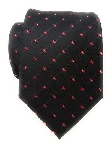 Labiyeur Men's Necktie: Fully Lined Woven Jacquard Slim Neck Tie Black Dot Grid