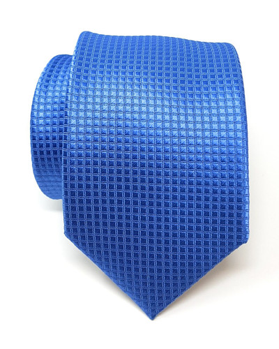 Labiyeur Men's Necktie: Fully Lined Woven Jacquard Slim Neck Tie Periwinkle Blue Grid