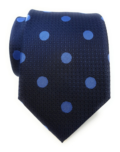Labiyeur Men's Necktie: Fully Lined Woven Jacquard Slim Neck Tie Navy Blue Polka Dot