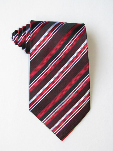 Red White Black Stripe Tie