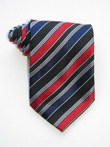 Variegated Stripes Red Bands Navy Tie
