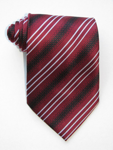 3 Versus1 White Stripe Burgundy Background Tie