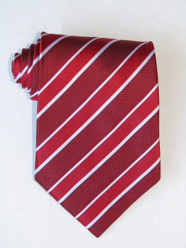 Double White Stripe Over Red Background Tie