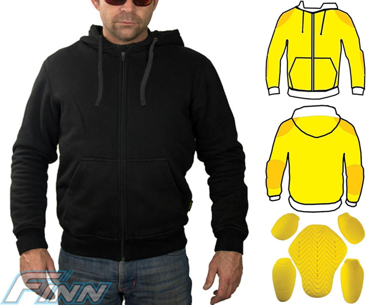 Kevlar Hoodie Men S Black Motorcycle Jacket Finn Moto