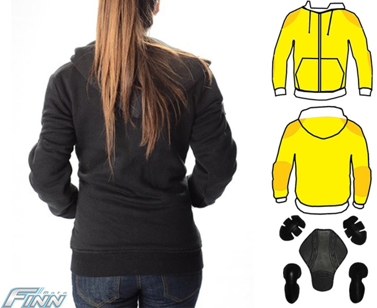 Ladies Black Hoodie Motorcycle Jacket