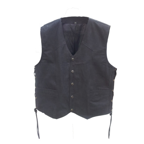 Brown nubuck leather vest front