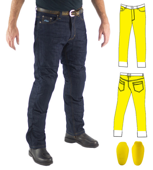 Raw Blue Motorcycle Jeans, lined with DuPont™ Kevlar® fiber Includes Knee Armour. Optional extra: Hip Armour