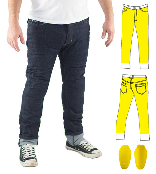 Slim Stretch Raw Blue Kevlar® Lined Jeans Includes Knee Armour. Optional extra: Hip Armour