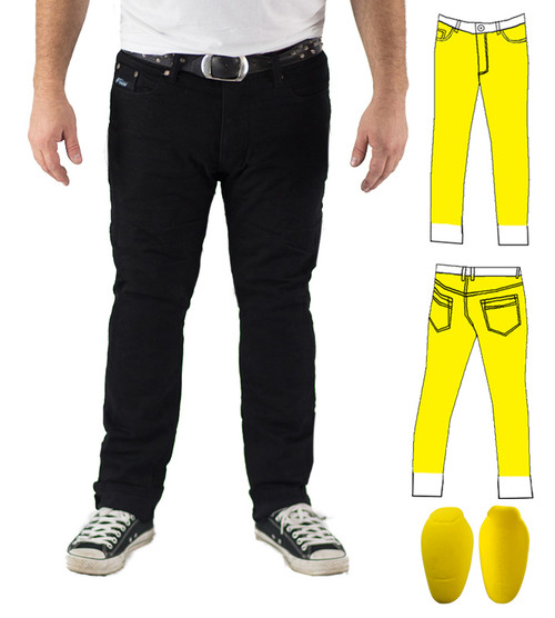 Black Slim Stretch Kevlar® Lined Jeans Includes Level 2 CE Knee Armour. Optional extra: Hip Armour