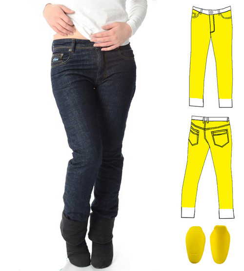 Ladies Blue Motorcycle Jeans, lined with Dupont Kevlar fiber front and back from waist to ankle