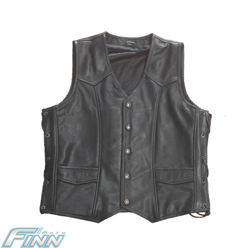 671 Black Cowhide Leather Vest