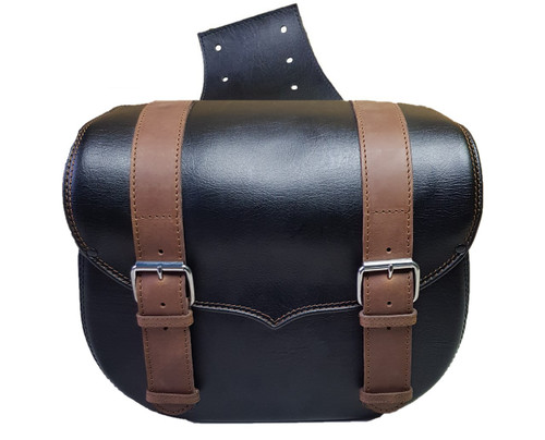 Throwover Motorcycle Saddlebags Brown Leather Strap