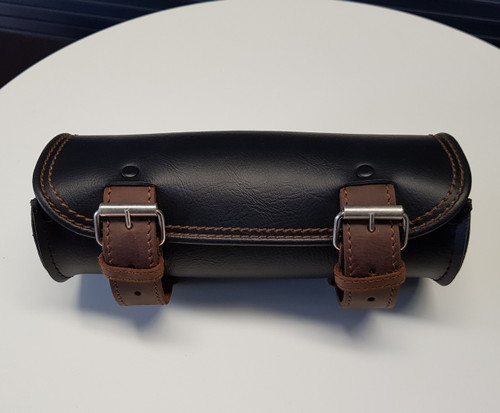 554 - 10inch Black Tool Bag with Brown Straps & Stitching