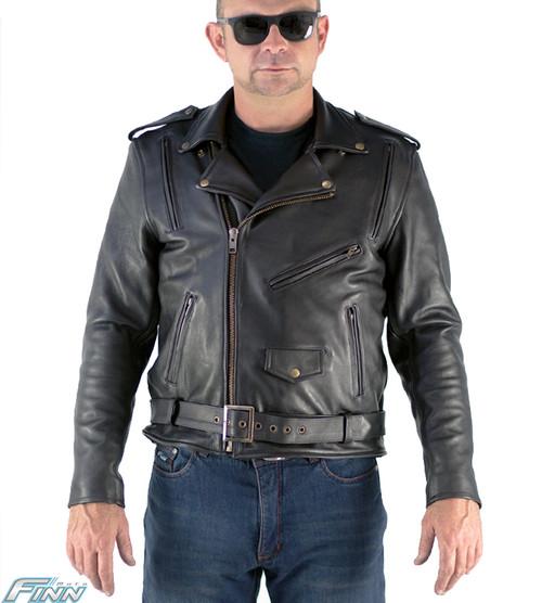 Mens Brando Aniline Leather Motorcycle Jacket