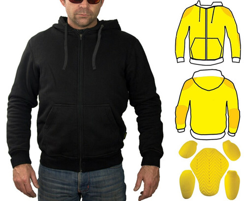 Mens Kevlar Hoodie fully lined with Kevlar. Extra Kevlar layers in shoulders & elbows. Includes CE Armour