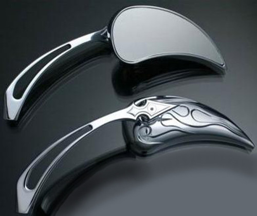 m01 - Chrome Motorcycle Mirrors Flame Wedge Spear Stem Set