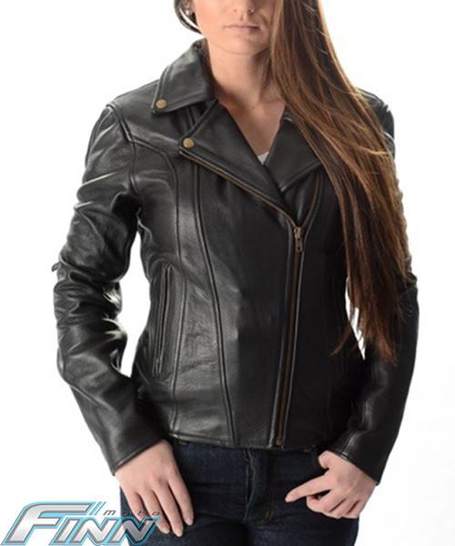 Ladies Aniline Brando Leather Motorcycle Jacket - Finn Moto