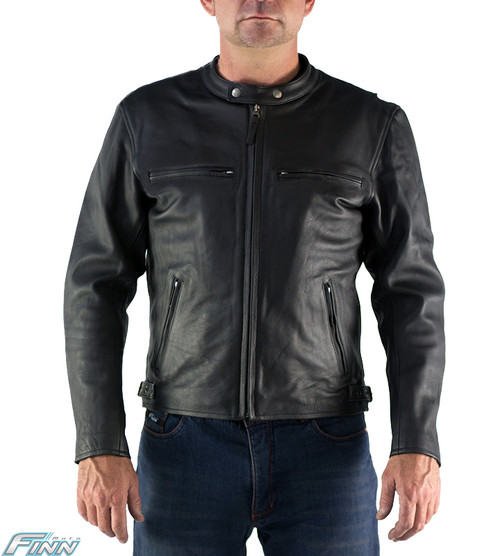 Black Cafe Leather Motorcycle Jacket