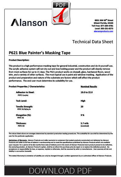 spec sheet for super blue usa painters tape, presto tape. pdf.