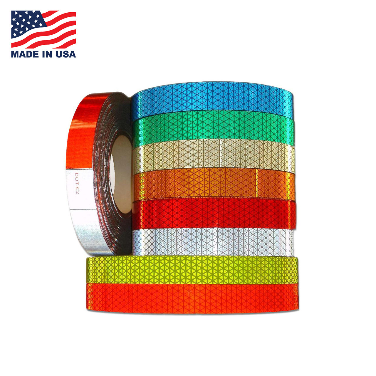 """1  WHITE  /& RED Reflective Diagonal Stripe  Conspicuity Tape 3//4/"""" x 50/'"""