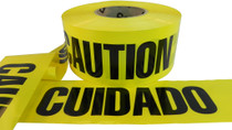 Yellow Barricade Tape with Caution Cuidado Print