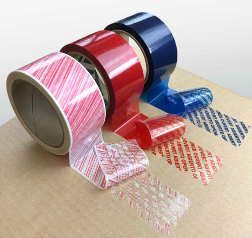 Tamper Evident Packaging Tape, Red, Blue, and Red and White