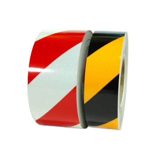 """Striped Reflective Tape - 10 YD and 50 YD - 1"""" to 6"""" by Roll or by Case from Tape Jungle.com - Call us at 305-231-8273."""