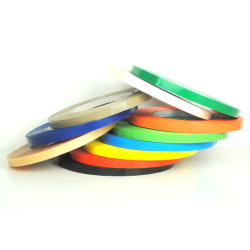 """Colored Bag Sealing Tape, UPVC Tape (9535) - 8 Colors, 3/8"""", 1/2"""", 5/8"""" - Wholesale Prices by Tape Jungle.com, The Discount Tape Superstore."""