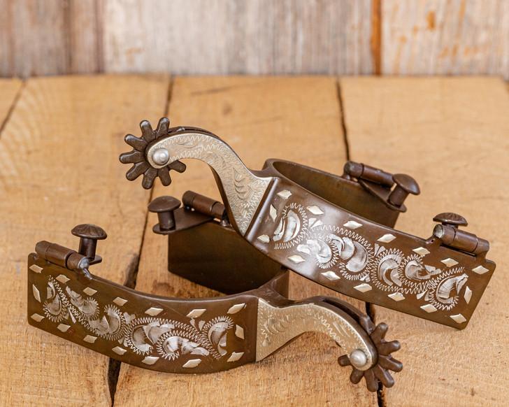 Antique Brown Engraved Buck-Stitch Spurs