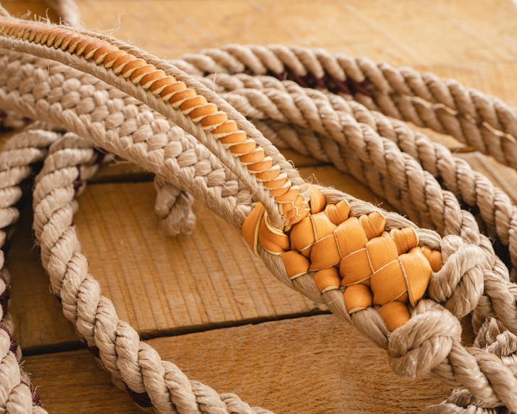 """Pro Series Bull Rope (9x7, 3/4"""" full lace handle, 3/4"""" soft tail)"""