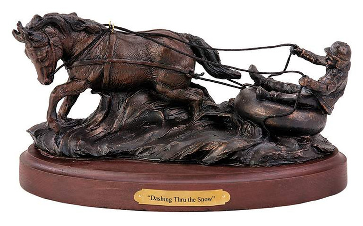 Horse Drawn Slay Decorative statue