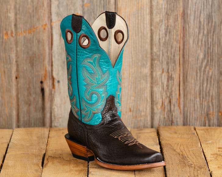 Old Style Beastmaster Roughstock Riding Boots - Turquoise/Brown
