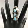 *LOVELY* 3 STONE VINTAGE TURQUOISE AND STERLING SILVER RING - SIZE 5