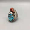 ring, coral, turquoise, sterling silver, signed, hallmarked, size 13, Zuni