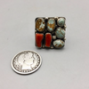 *NEW* Turquoise and Coral SQUARE Ring- Nick Jackson (Navajo)-Size 7.5